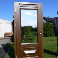 Rudos medinės durys su veidrodiniu stiklu